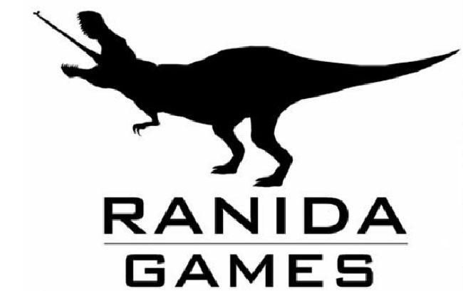 The logo of Ranida Games, which shows the silhouette of a T-Rex with a long, frog-like tongue stretching out of its opened mouth.