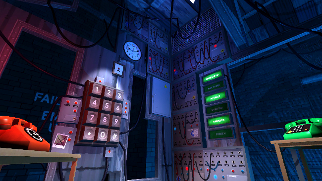 Some sort of work room, with a large phone number key pad, red and green telephones, and wires running out of the walls.
