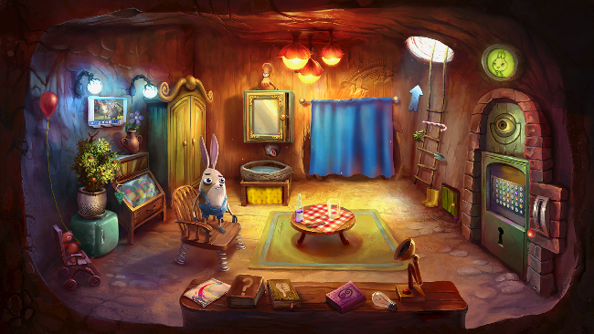 "Colorful and intricate ""My Brother Rabbit"" screenshot, of an underground room with a secret door."