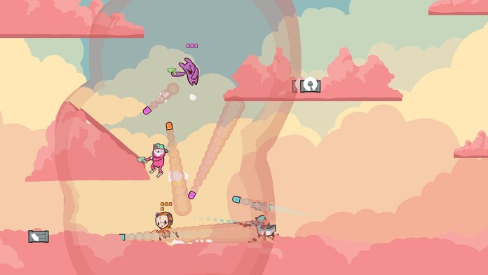 """Retimed"" screenshot of four colorful characters shooting colorful bullets at each other in a place made of clouds."