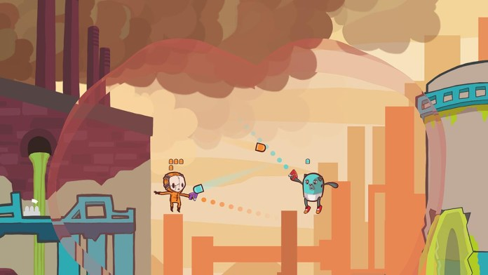 """Retimed"" screenshot of two colorful characters shooting at each other in a smoky factory setting, with a rippling time bubble around them."