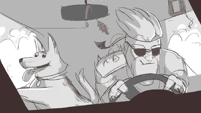 "Black and white sketch of a bearded man driving with a happy dog. This is concept art for ""The Last Friend."""