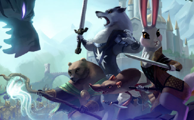 """Armello"" illustration of anthropomorphic animal warriors--a bear, a wolf, a rat, and a rabbit."