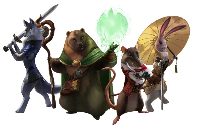 """Armello"" illustrations of playable characters, anthropomorphic versions of a rabbit, a rat, a bear, and a wolf."