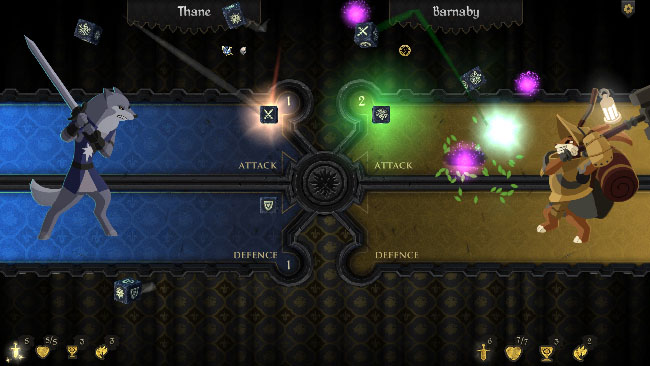 "Screenshot of ""Armello"" gameplay, featuring 2D art of anthropomorphic versions of a wolf and rabbit in combat."