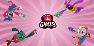 """Retimed"" characters in differently colored outfits, armed with blasters, and jumping toward the logo for the Swiss Made Games League."