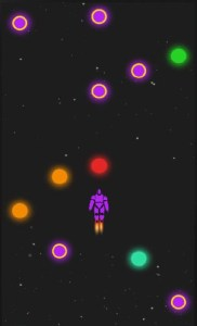 Screenshot of gameplay, featuring a purple robot on a dark space setting, with various colored orbs.