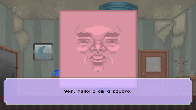 "Screenshot of ""The Raccoon Who Lost Their Shape."" Done in pixel art. A sentient square--with a face--in an office, with a text box indicating his dialogue."
