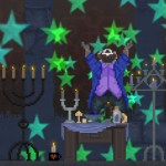 """Screenshot of """"The Raccoon Who Lost Their Shape."""" Done in pixel art. Anthropomorphic raccoon wearing casual clothes in room with candles and other occult items. Raccoon is levitating off the ground, looking up at the ceiling, with his arms raised purple. There are green stars in the air."""
