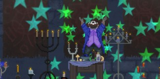 "Screenshot of ""The Raccoon Who Lost Their Shape."" Done in pixel art. Anthropomorphic raccoon wearing casual clothes in room with candles and other occult items. Raccoon is levitating off the ground, looking up at the ceiling, with his arms raised purple. There are green stars in the air."