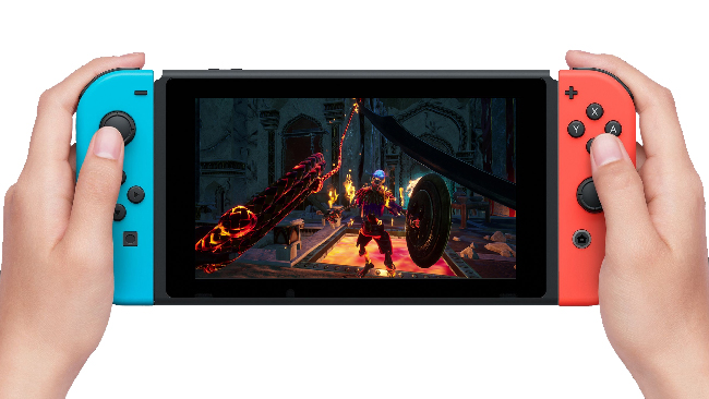 """City of Brass"" gameplay on the Nintendo Switch. It looks like a pair of hands holding a red-and-blue console. On the screen is an image of a first-person view showing the glimpses of the player's weapons, a whip and sword. The first-person view also includes a confrontation against a skeleton with a shield, in a fantasy Arabian desert city at night."