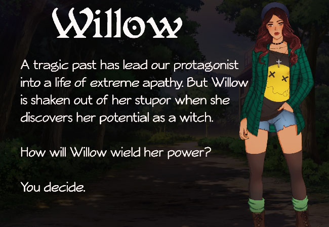 """Wicked Willow"" character illustration of eponymous protagonist, Willow, a young woman with long, dark brown hair. She's wearing a dark green jacket over a black-and-yellow shirt, blue jean shorts, a hat, and dark knee socks."