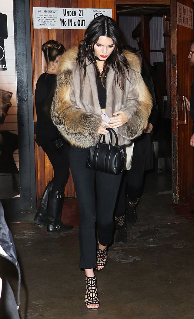 On Jenner: Sally LaPointe Mink Fur With Cross Fox Fur Panel Jacket ($15,500); Givenchy Micro Lucrezia Sandy Leather Satchel ($1,295); Ted Baker Chayat Skinny Neoprene...