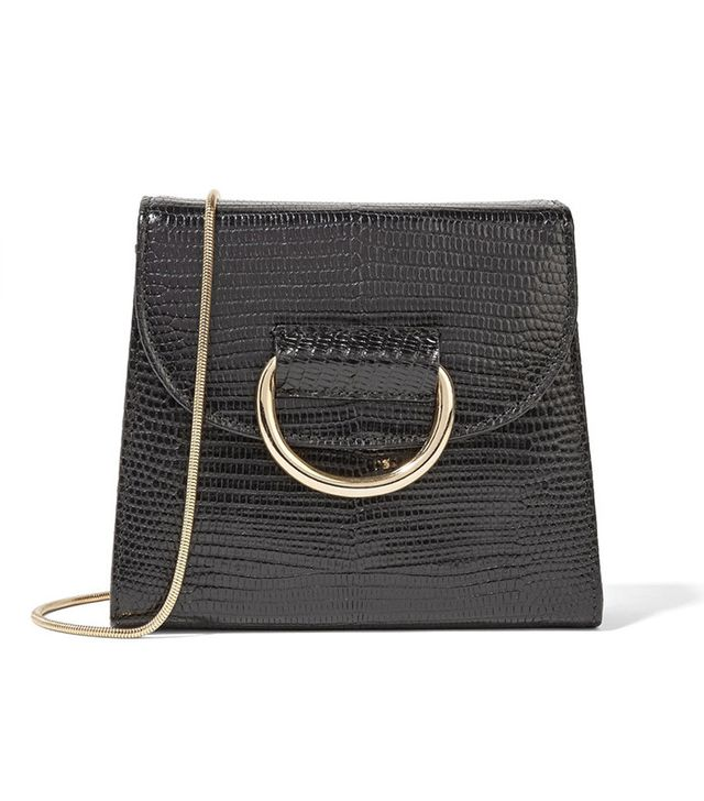 Little Liffner Tiny Box Lizard-Effect Leather Shoulder Bag
