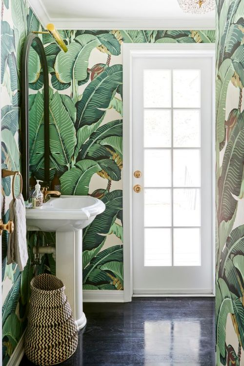 Wallpaper Murals Palm Print Wallpapers Bathroom Decor Oversized Mirror