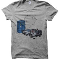 DeLorean crashes into Tardis Dr Who Back to the Future t-shirt by Clique Wear