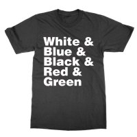 White & Blue Black Red Green t-shirt by Clique Wear