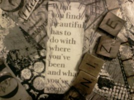 Quote above Scrabble tiles