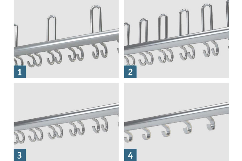 WG40S Hook Rail Options | Cloakroom Solutions