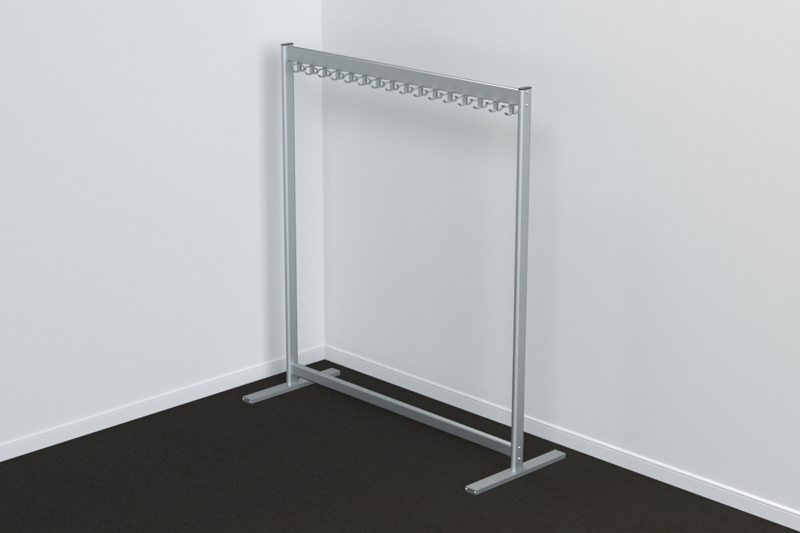 FS70x28-2-2 Free Standing Single Height Hook Rail | Cloakroom Solutions