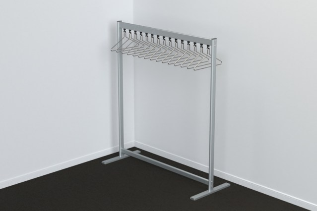 FS70x28-2 Free Standing Single Height Coat Rail | Cloakroom Solutions