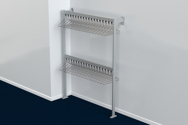 FS70x28.7 Floor to Wall Double Height Coat Rail | Cloakroom Solutions