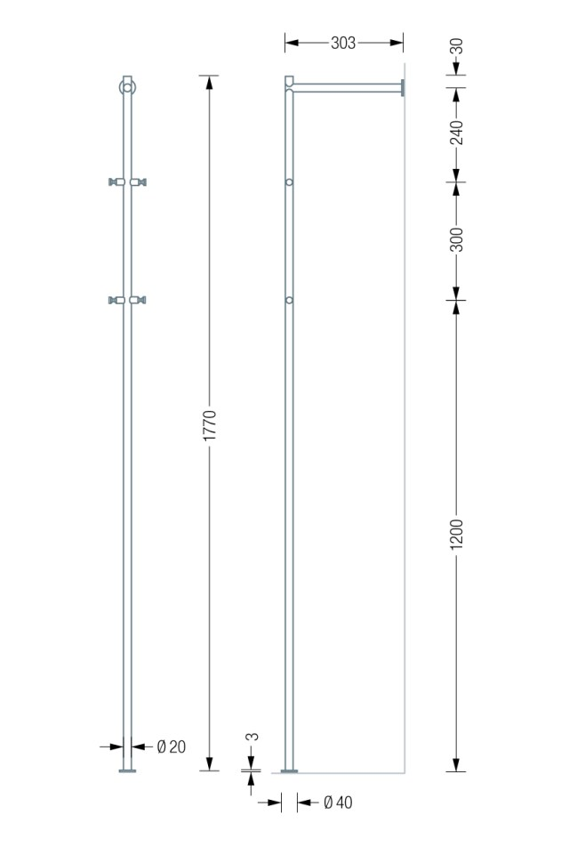 PHOS GL1 Coat Stand dimensions | Cloakroom Solutions