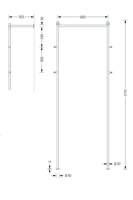 PHOS GL2 Coat Stand Dimensions | Cloakroom Solutions