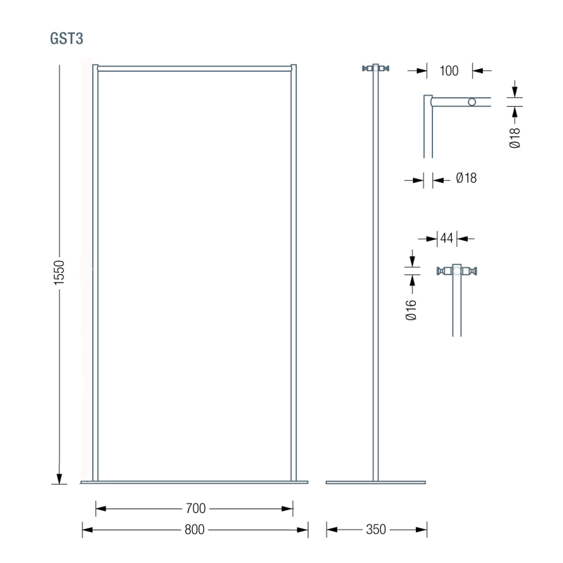 PHOS GTS3 Coat Stand Dimensions | Cloakroom Solutions
