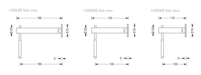 PHOS H20KKB Wall Hanger Dimensions | Cloakroom Solutions