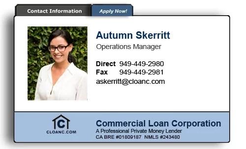 Autumn Skerritt Commercial Loan Corporation 949-449-2980
