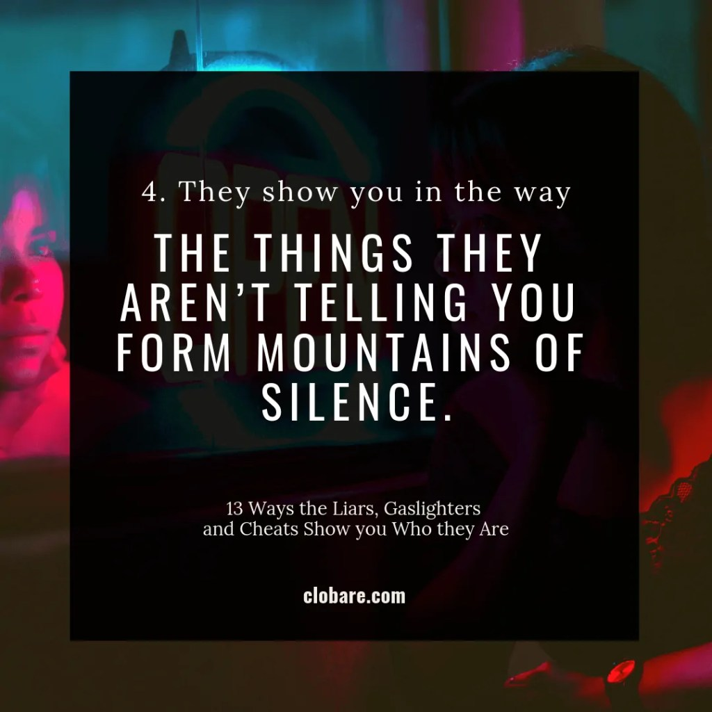 13 Ways the Liars, Gas-lighters and Cheats Show you Who They Are: #4. They show you in the way the things they aren't telling you form mountains of silence.