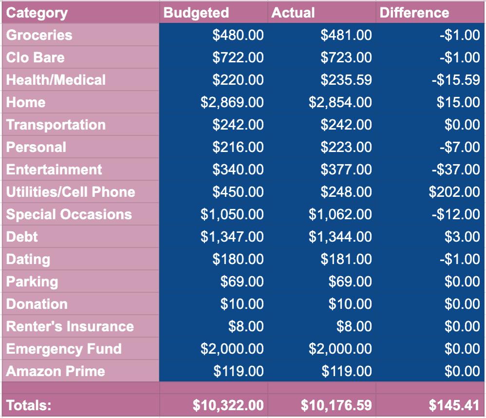 November 2020 Spending Categories