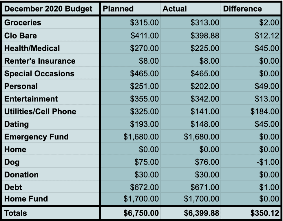 What I Spend in a Month: December 2020 Budget and Categories