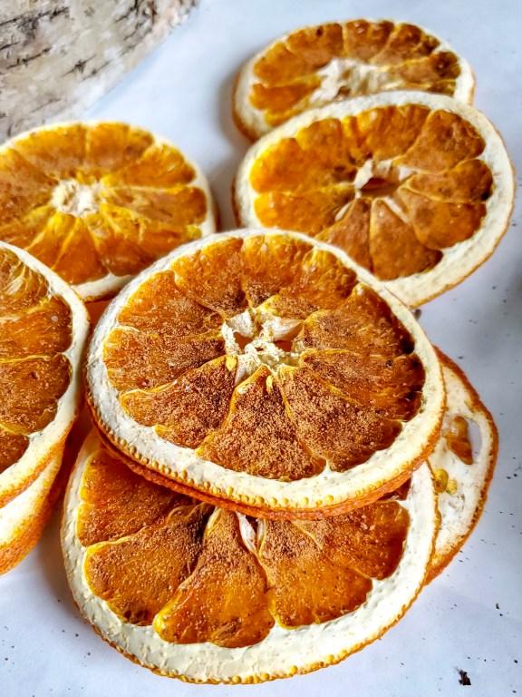 Orange slices close up