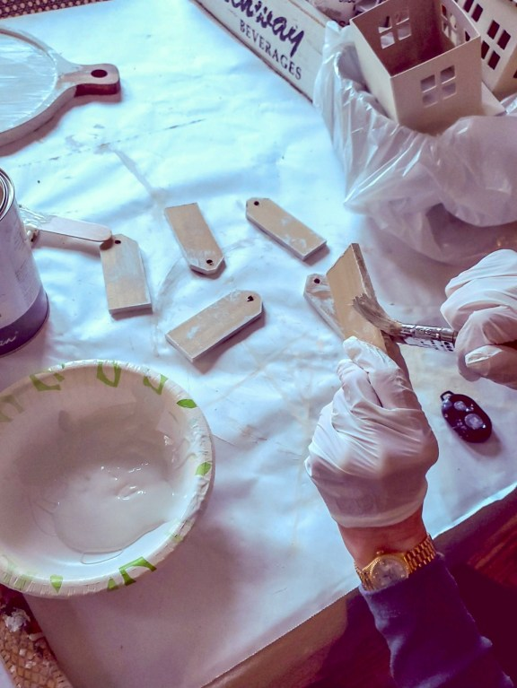 Christmas gift tags getting painted on the edges