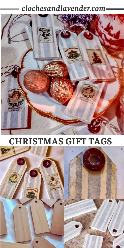 Christmas gift tags main Pinterest showing the process of Christmas gift tags
