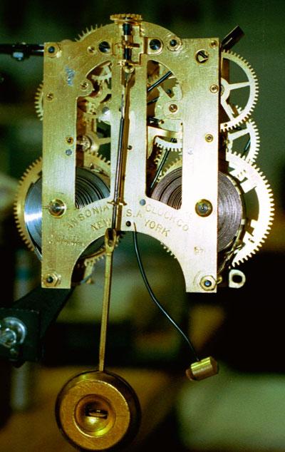 Movement back of ansonia Iron Mantel Clock