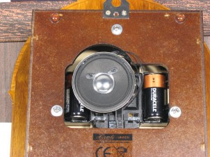 A clock with the speaker mounted to the back of the movement (Hermle 70883-Q12214). The sound is not as good when the speaker is mounted this way.