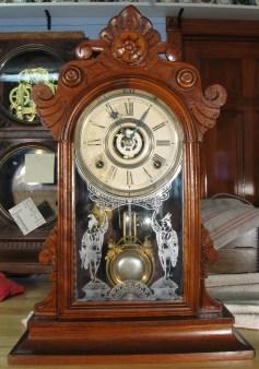 "Gilbert ""Parole"" walnut shelf or parlor clock. 19 1/4 inches tall."