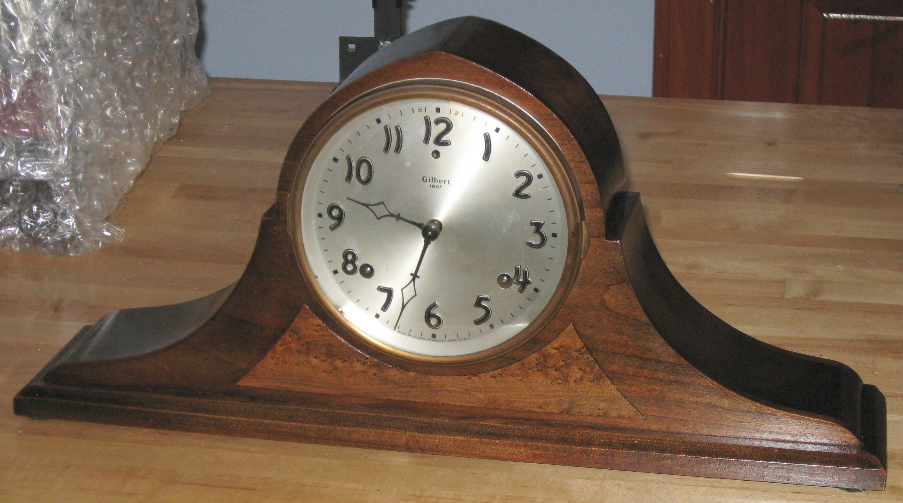 Gilbert Tambour Mantel Clock With Bim Bam Striking