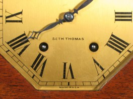 """Dial is labeled """"SETH THOMAS"""" """"MADE IN U.S.A."""""""
