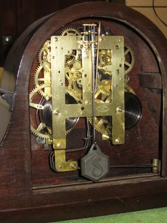 "Rear view with door open. Notice the original ""S"" Sessions pendulum bob."