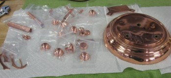 The parts as received from being copper plated by Ken's Clock Clinic