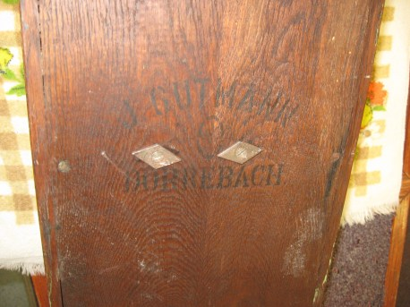 "Back of the case is marked ""J. Gutmahn Dorrebach"""