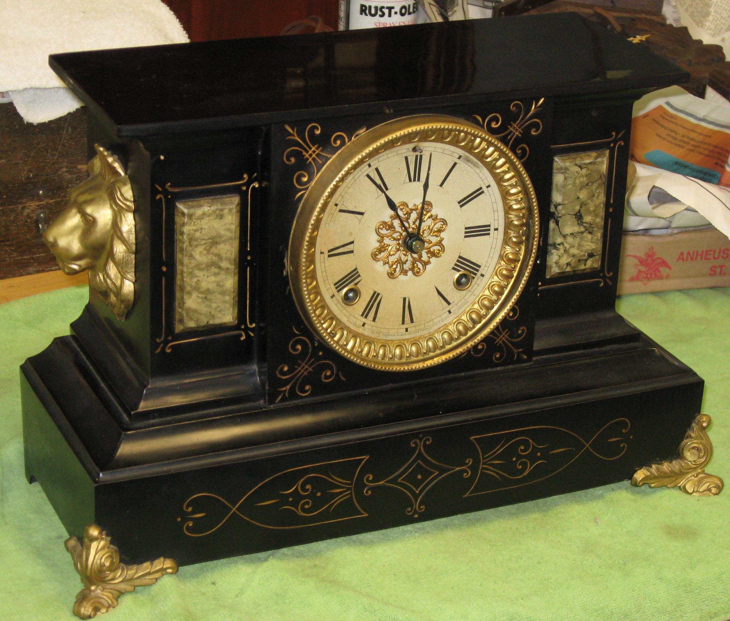 Ansonia Enameled Iron Black Mantel Clock Clockinfo Com