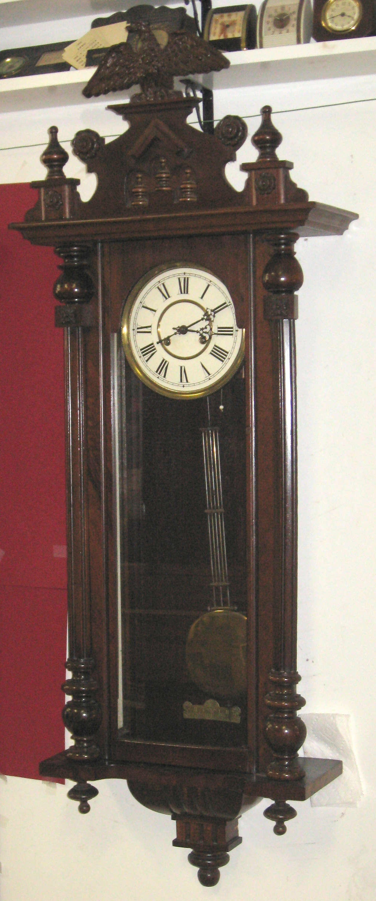 German Wall Clock With Eagle On Top Clockinfo Com