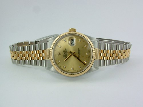Rolex datejust 36 gold steel diamonds