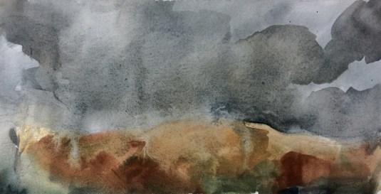 Rain on the hill (watercolour)
