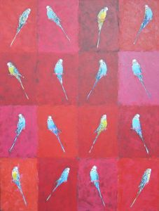 Budgerigar Grid on Red